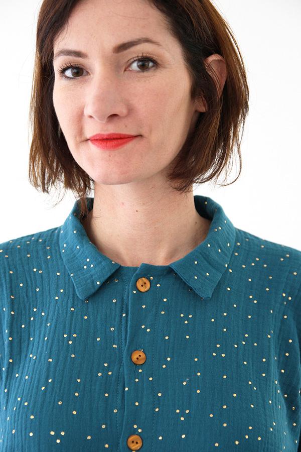 I AM Patterns - Sewing pattern - Lucienne boxy shirt dress tunic - zoom collar tunic