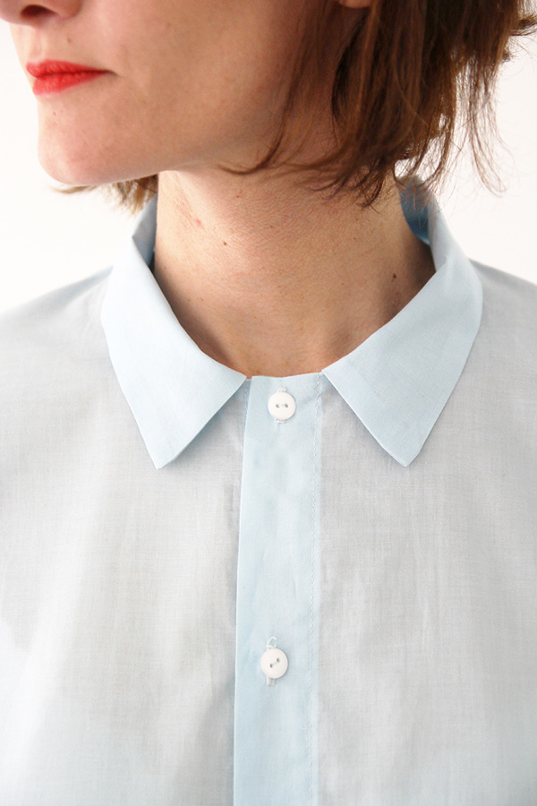 I AM Patterns - Sewing pattern - Lucienne boxy shirt dress tunic - collar detail zoom shirt-dress