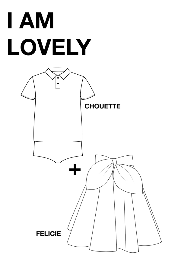 I AM Patterns - Duo bundle Chouette polo shirt - Felicie skirt - technical drawing