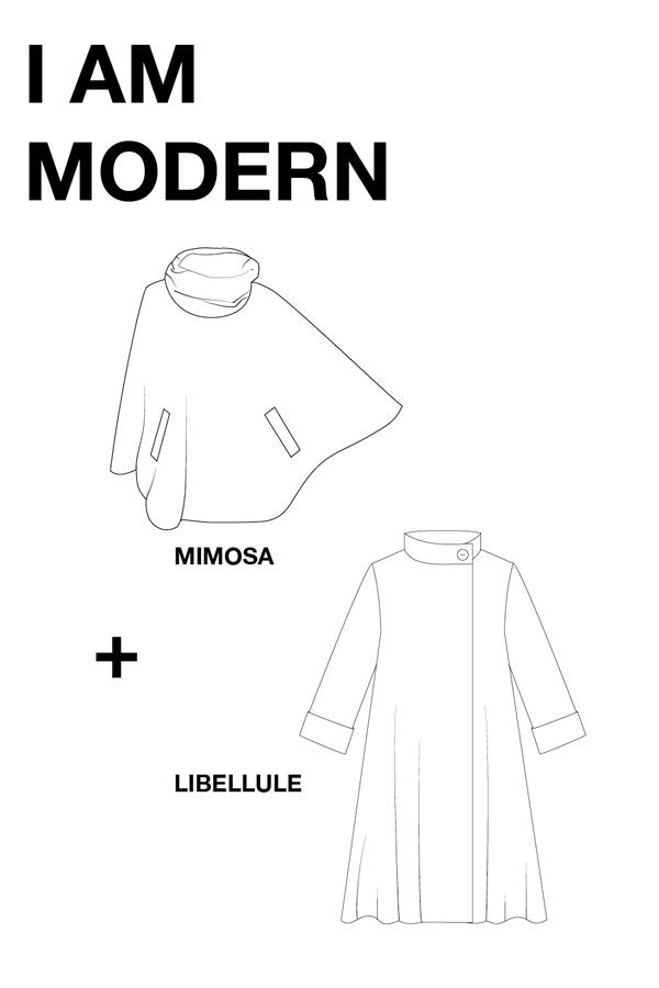I AM Patterns Patron Couture Duo Pack Promo Lot Chemise Libellule Cape Mimosa dessin technique