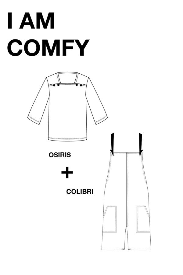 I AM Patterns Patron Couture Duo Pack Promo Lot Mariniere Osiris Salopette Colibri dessin technique