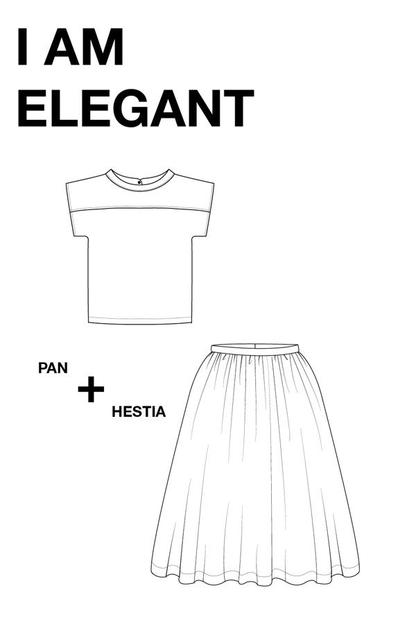I AM Patterns Patron Couture Duo Pack Promo Lot Haut Pan Jupe Hestia dessin technique