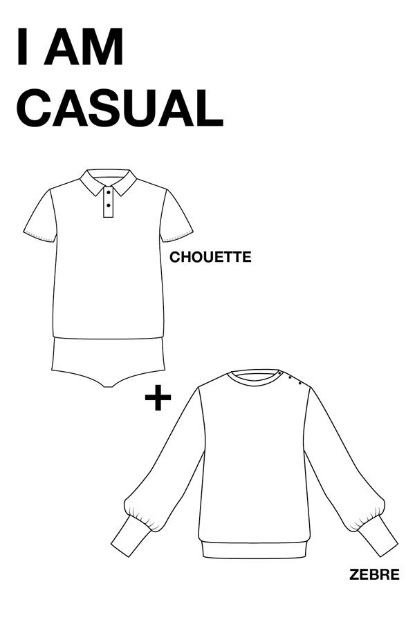 I AM Patterns Patron Couture Duo Pack Promo Lot Zebre Chouette dessin technique