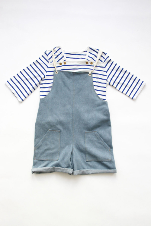 I AM Patterns - Duo bundle sewing patterns - osiris sailor shirt - colibri overalls - front
