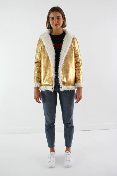 I AM Patterns - Women sewing pattern - Delphine jacket - gold reversible fabric