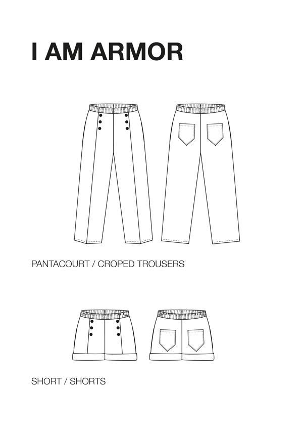 I AM Patterns Armor Patron Couture Pantacourt Dessin Technique