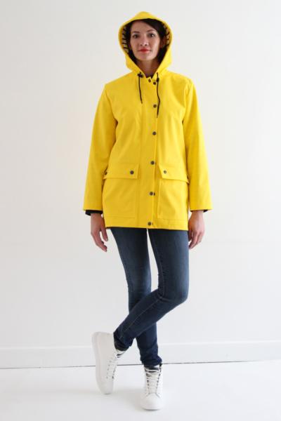 I AM Patterns Jacques Patron Couture Cire Jaune Classique Manteau Pluie Avec Capuche Devant