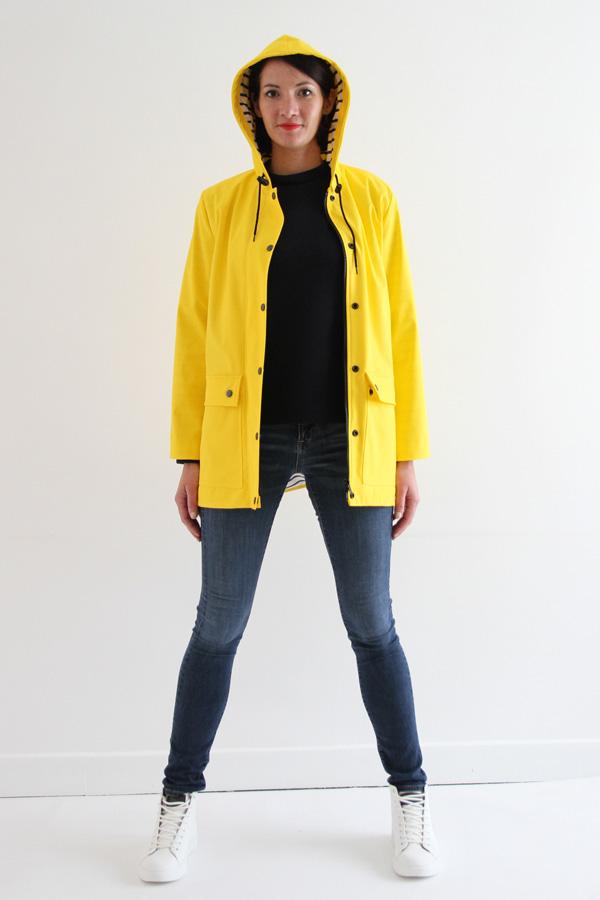 I AM Patterns Jacques Patron Couture Cire Jaune Classique Manteau Pluie Avec Capuche Devant Ouvert