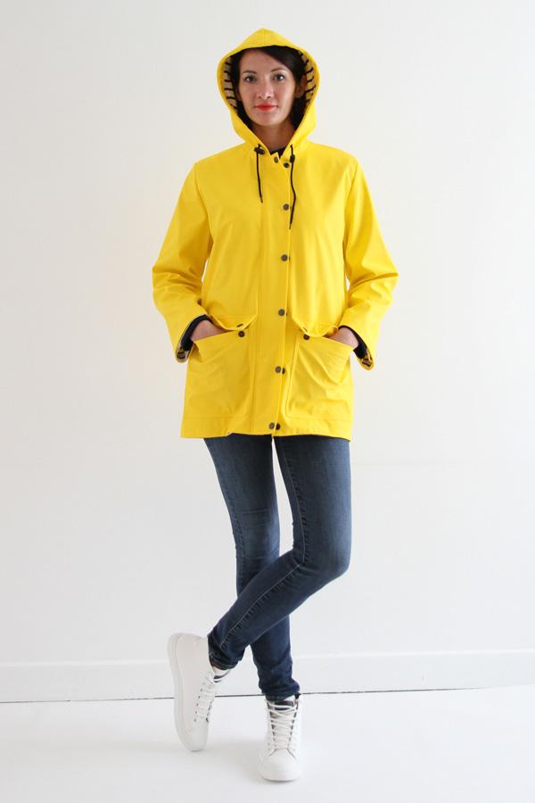 I AM Patterns Jacques Patron Couture Cire Jaune Classique Manteau Pluie Devant Avec Capuche