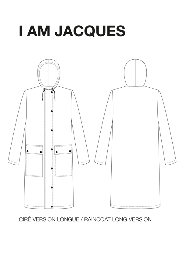 I AM Patterns Jacques sewing pattern classic raincoat with hood and patched pockets 18