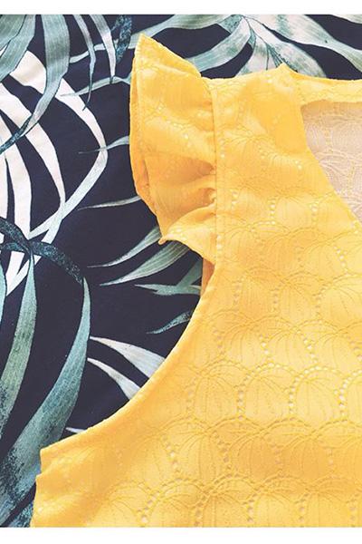 I AM Pattern Patron Couture Debardeur Tuto Comment Ajouter Volants Fil A Peau Jaune Detail