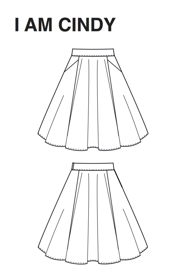 Technical drawing Cindy skater skirt with pockets