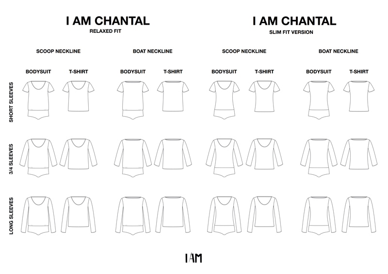 I AM Patterns All Technical Drawings Bodysuit Tshirt CHANTAL 24 Versions