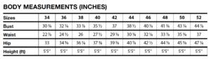I AM Patterns sizes measurement chart women sewing pattern