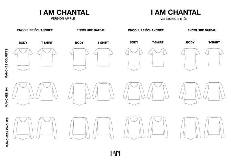 I AM Patterns all technical drawings Bodysuit Tshirt CHANTAL 24 Versions