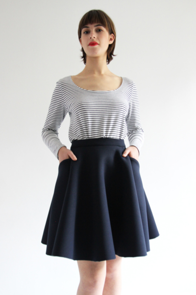 I AM Patterns Ladies sewing pattern Cindy skater skirt with pockets and chantal bodysuit