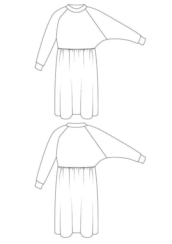 I AM Patterns Sewing Pattern Cassiopée Jersey Dress Technical Drawing