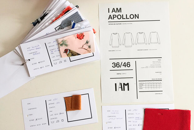 I AM Patterns Sewing Planner I AM Organised fabric swatch tags and pattern