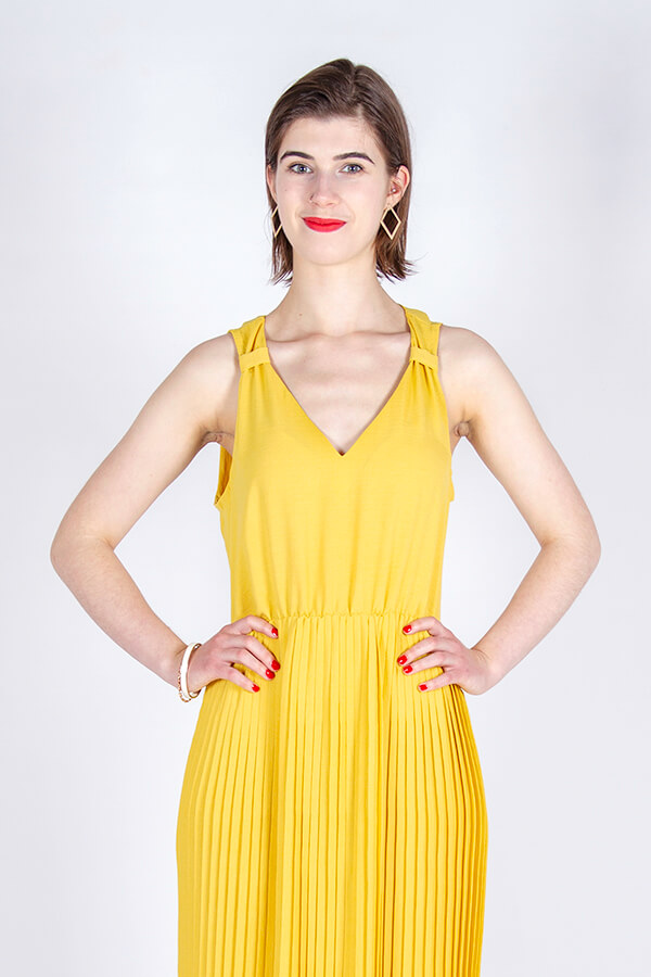 I AM Patterns Hack Gaïa Yellow Pleated Dress Front Detail