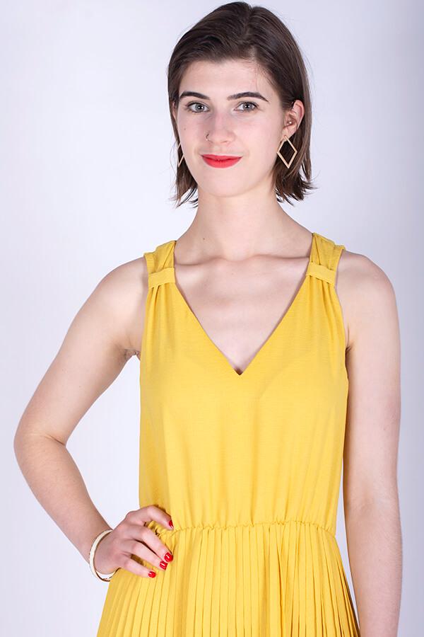 I AM Patterns Variante Patron Couture Gratuite Gaia Robe Plisee Jaune Détail