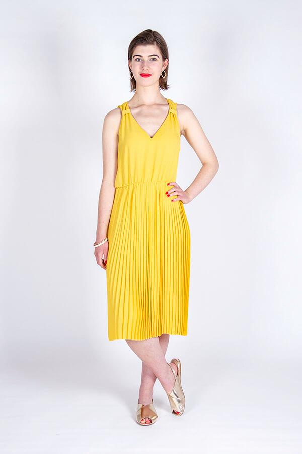 I AM Patterns Hack Gaïa Yellow Pleated Dress Front