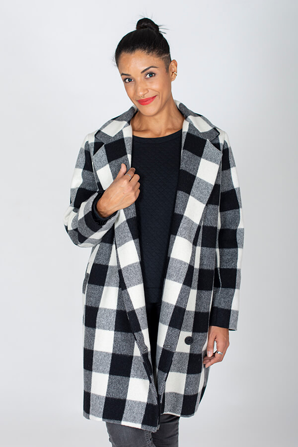 I AM Patterns ladies Sewing Pattern Merlin Fully Lined Coat Front Zoom 2