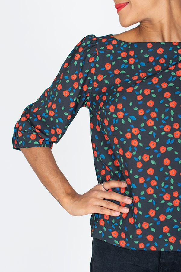 I AM Patterns Patron Blouse Joy Collab Tissu Atelier 27 @la_meuf_qui_coud Détail manche et encolure