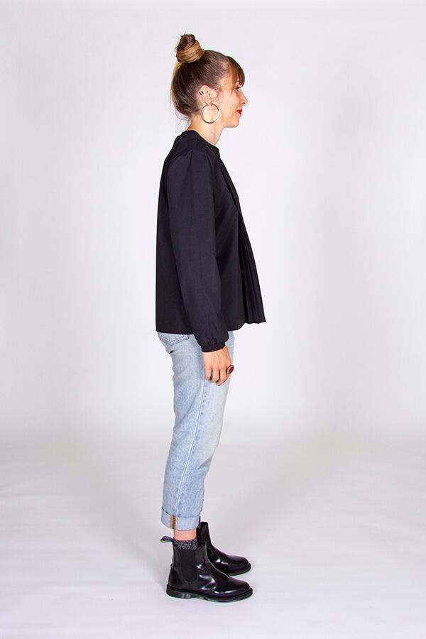 I AM Patterns Patron Couture Blouse Clochette Noir Profil