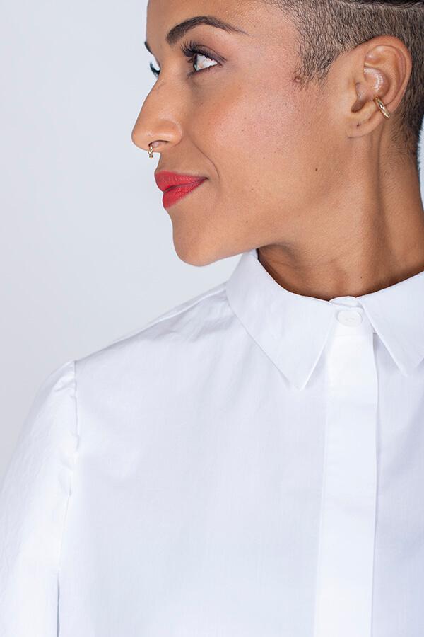 I AM Patterns Patron Couture Irma Chemise Blanche Détail Col Devant