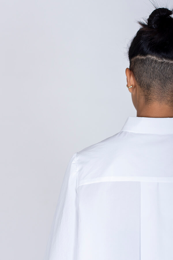 I AM Patterns Ladies Sewing Pattern Irma Shirt White Back Detail