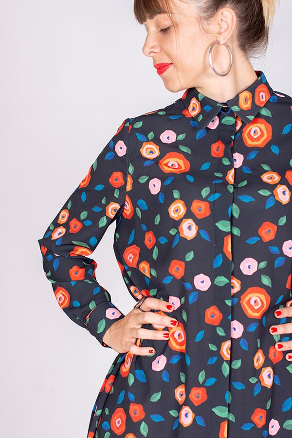I AM Patterns Ladies Sewing Pattern Irma Shirt-Dress Atelier 27 Fabric Detail 1