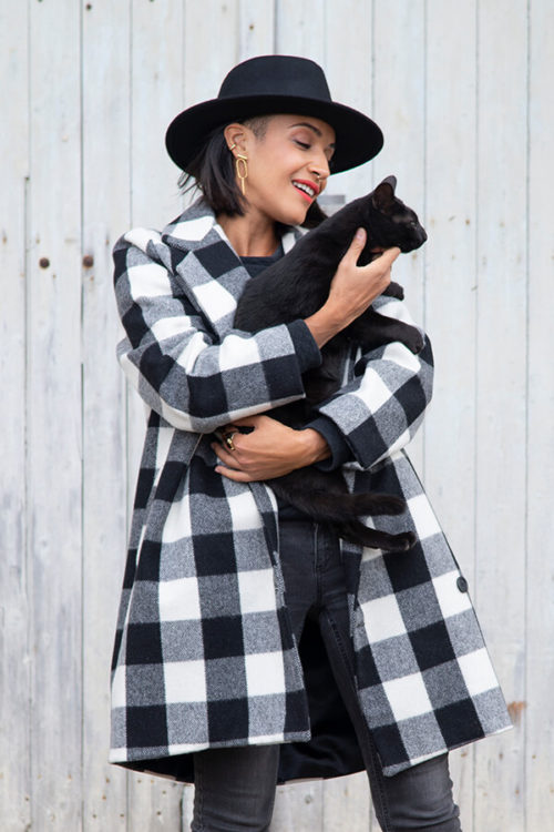 I AM Patterns ladies Sewing Pattern Merlin Fully Lined Coat Front With Cat