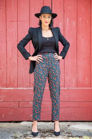 I AM Patterns Patron Couture Panoramix Pantalon Tissu Atelier 27 @la_meuf_qui_coud porte rouge