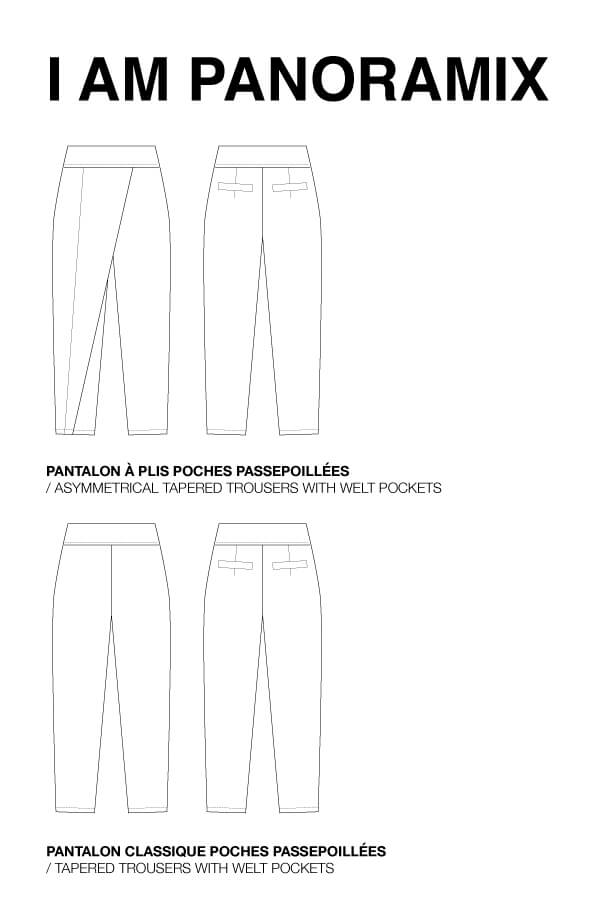 I AM Patterns Panoramix asymmetrical tapered trousers sewing pattern technical drawing