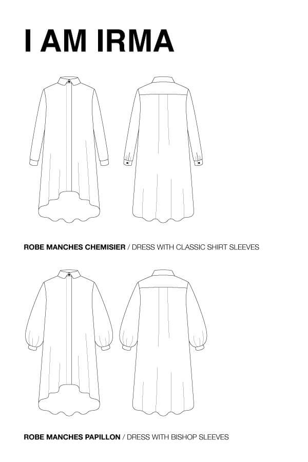 I AM Patterns Patron Couture Femme Robe Chemise Irma Dessin Technique