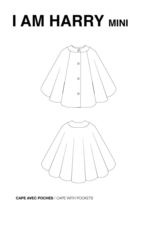 I AM Patterns Sewing Pattern Children Cape With Pockets Harry mini technical drawing