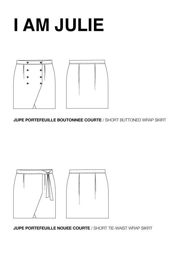 I AM Patterns Sewing Pattern Asymmetrical Wrap Skirt Julie @ateliersvila Technical Drawing
