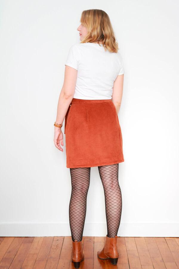 I AM Patterns Sewing Pattern Asymmetrical Wrap Skirt Julie @ateliersvila Short corduroy tie-waist
