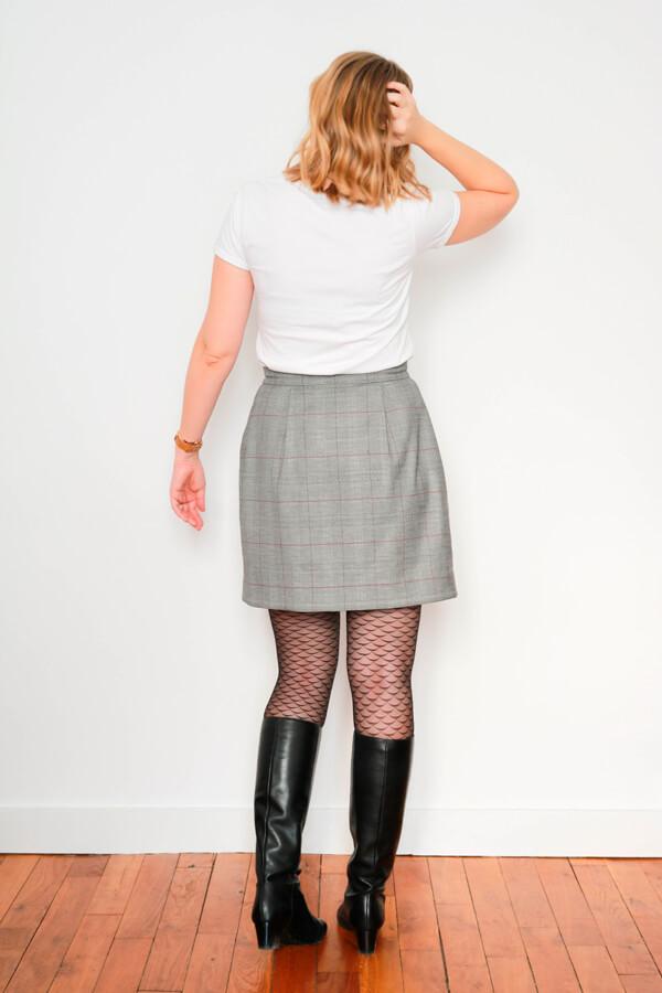 I AM Patterns Sewing Pattern Asymmetrical Wrap Skirt Julie @ateliersvila Short Prince of Wales