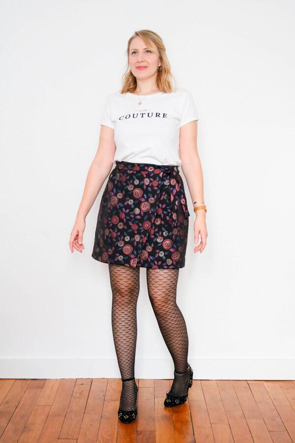I AM Patterns Sewing Pattern Asymmetrical Wrap Skirt Julie @ateliersvila Short pink jacquard atelier 27