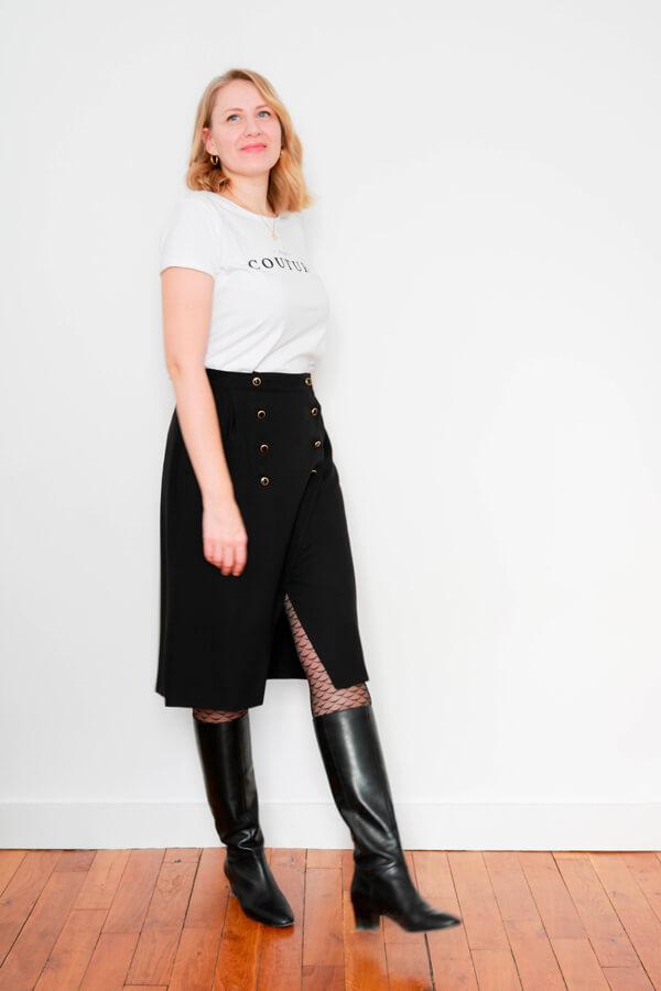 I AM Patterns Sewing Pattern Asymmetrical Wrap Skirt Julie @ateliersvila Long Black buttoned