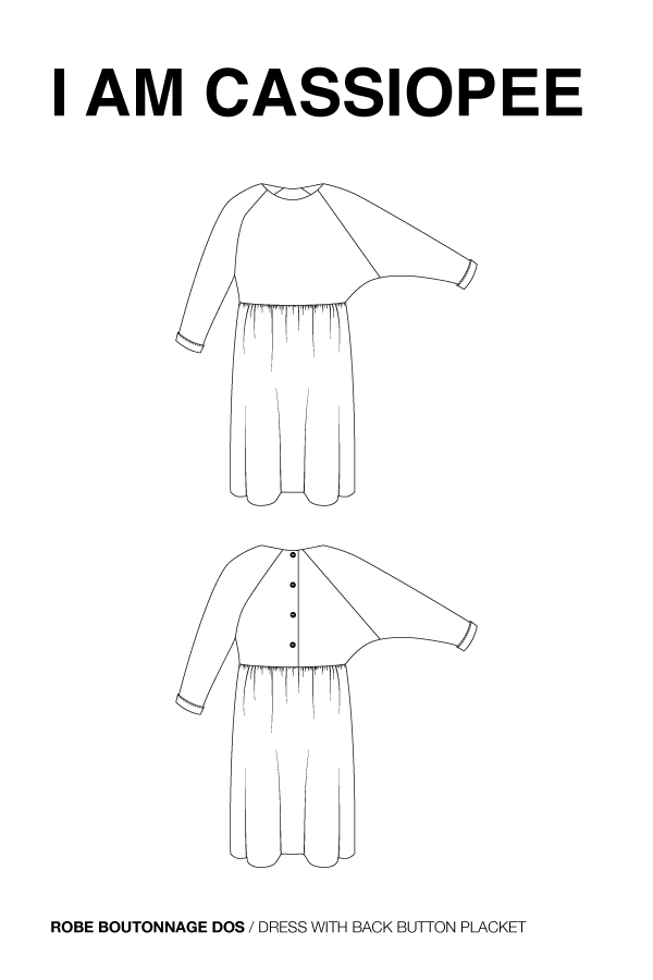 I AM Patterns Cassiopee Robe Ample Froncee Boutonnage Dos Dessin Technique