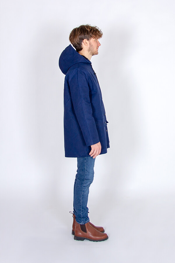 I AM Patterns Sewing Pattern Hooded raincoat coat Jacques Men blue waxed cotton Ma Petite Mercerie