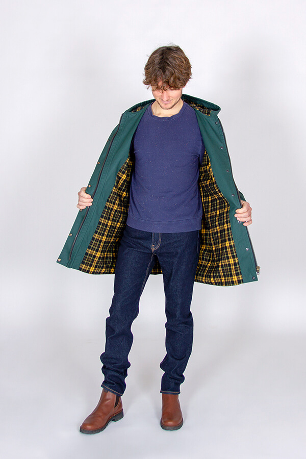 I AM Patterns Sewing Pattern Hooded raincoat coat Jacques Men green waxed cotton MeterMeter