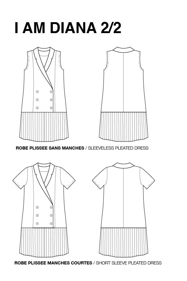 I AM Patterns Combishort Robe Plissee Diana Dessin Technique