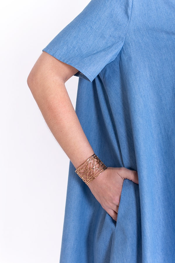 I AM Patterns Robe Ample Evasée Cinderella Collab @ledressingdecindy Lightweight Denim Fabric Godmother