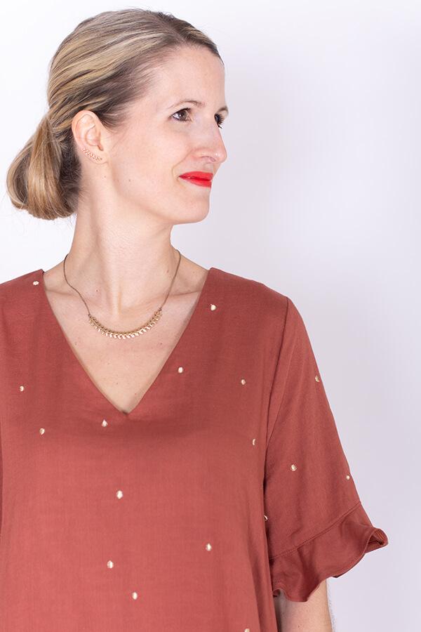I AM Patterns Robe Ample Evasée Cinderella Collab @ledressingdecindy Tissu Double Gaze Stardust Chestnut