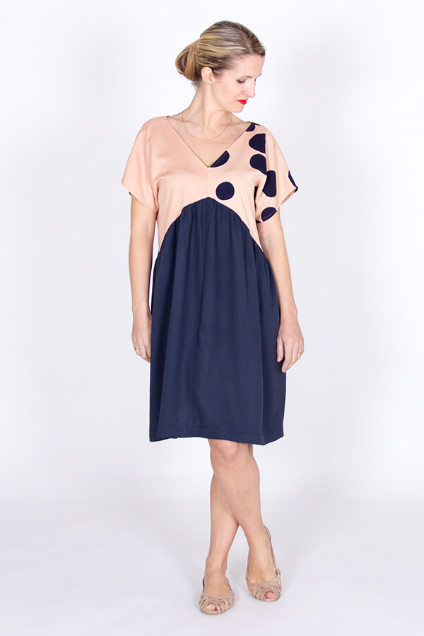 I AM Patterns Robe Poches Sherazade Bleue Meter Meter Mind The Maker Viscose About a Dot front