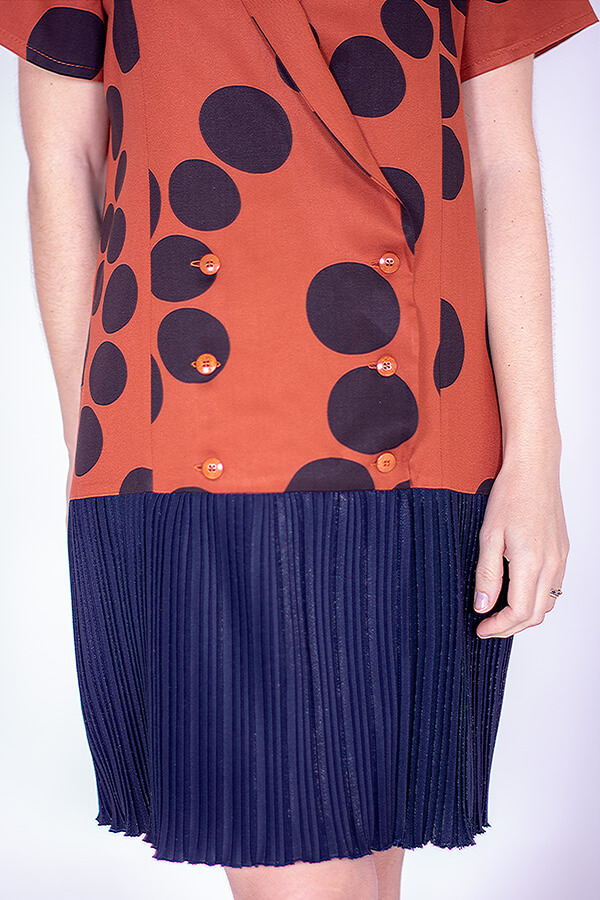 I AM Patterns Ladies Sewing Pattern Blue and Orange Pleated dress Diana