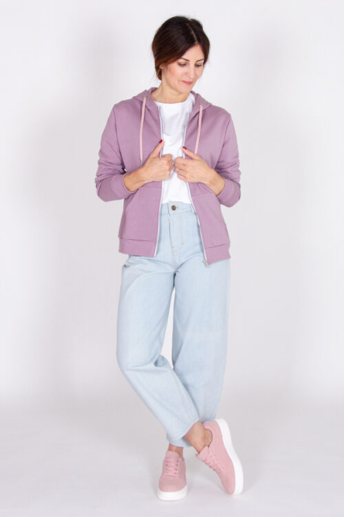 Sewing pattern of the Rainbow zipped hoodie with kangaroo pockets